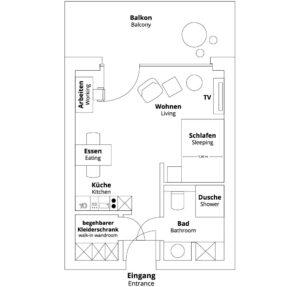 Grundriss Apartment M der PM-AM Apartments GmbH