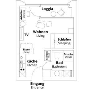 Grundriss Kategorie S Apartment der PM-AM Apartments GmbH